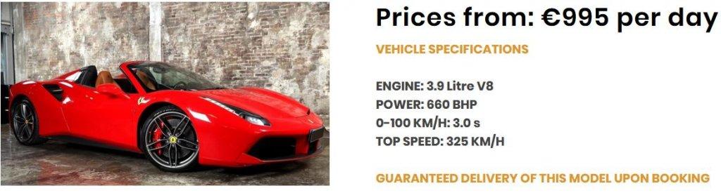 Ferrari 488 Spider-Angebot